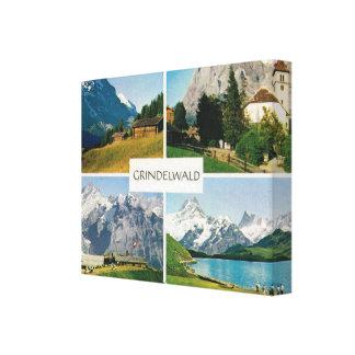 ヴィンテージスイス連邦共和国、Grindelwald、Jungfrau キャンバスプリント