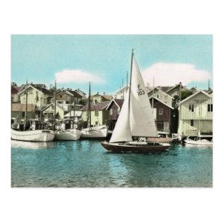 ヴィンテージスウェーデンのバルト海リゾートの航行ボート ポストカード