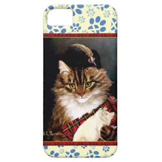 ヴィンテージスコットランドの高地猫の足のプリントの芸術の場合 iPhone SE/5/5s ケース