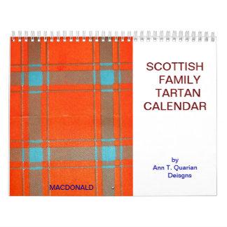 ヴィンテージスコットランド家族のタータンチェックCALANDAR カレンダー