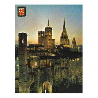 ヴィンテージスペイン、日没のバルセロナ ポストカード