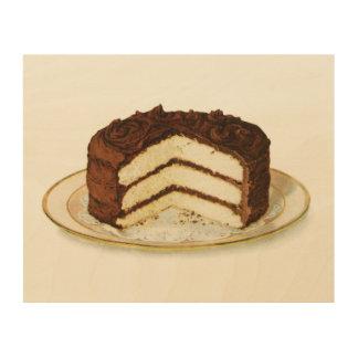 """ヴィンテージチョコレートは凍らしましたレイヤーケーキ10""""をx 8"""" ウッドウォールアート"""