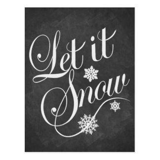 ヴィンテージチョークボードクリスマスLet It Snow ポストカード