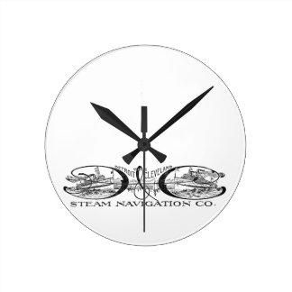 ヴィンテージデトロイト及びクリーブランドの蒸気の運行Co ラウンド壁時計