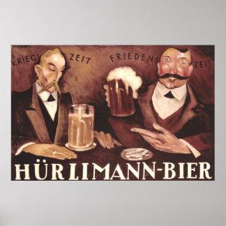 ヴィンテージドイツビールバーのパブの芸術ポスターHurlimann ポスター