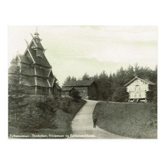ヴィンテージノルウェー、ノルウェー語Folkmuseumの横木教会 ポストカード