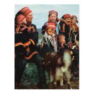 ヴィンテージノルウェー、ラプランドのSami家族1950年 ポストカード
