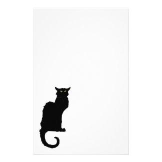 ヴィンテージハロウィンのアールヌーボーの気味悪い黒猫 便箋