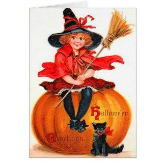 ヴィンテージハロウィンの少し魔法使い グリーティングカード