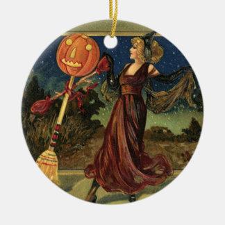 ヴィンテージハロウィンの美しい踊りの魔法使い セラミックオーナメント