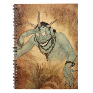 ヴィンテージハロウィンの角を持つ気色悪い鬼モンスター ノートブック