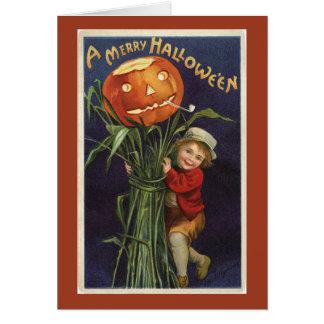 ヴィンテージハロウィーンのカボチャのちょうちんCornstalkおよび男の子ハロウィン カード