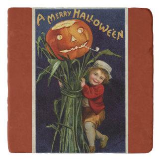 ヴィンテージハロウィーンのカボチャのちょうちんCornstalkおよび男の子ハロウィン トリベット