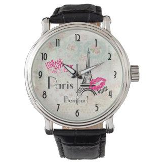ヴィンテージパターンのエッフェル塔との愛パリ 腕時計