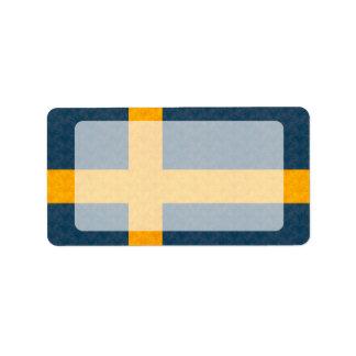 ヴィンテージパターンスウェーデン人の旗 ラベル