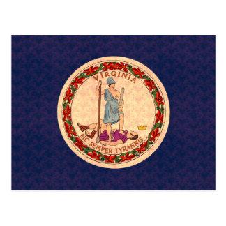 ヴィンテージパターンバージニア人の旗 ポストカード