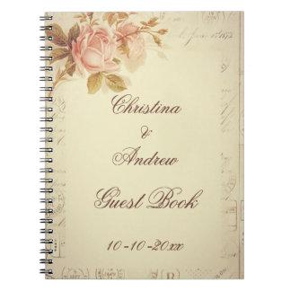 ヴィンテージパリはシックなバラの来客名簿に消印を押します ノートブック