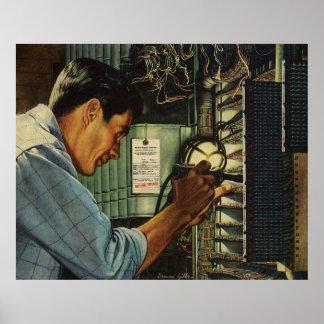 ヴィンテージビジネス電気技師の遮断器パネル ポスター