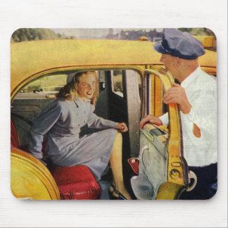 ヴィンテージビジネス、タクシーの運転者の女性の乗客 マウスパッド