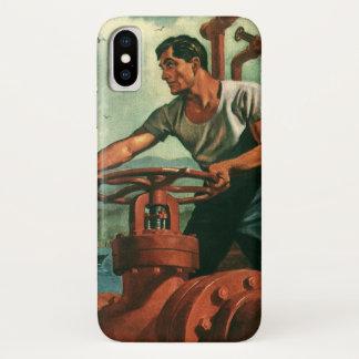 ヴィンテージビジネス、港湾労働者が付いている石油タンカーの船 iPhone X ケース
