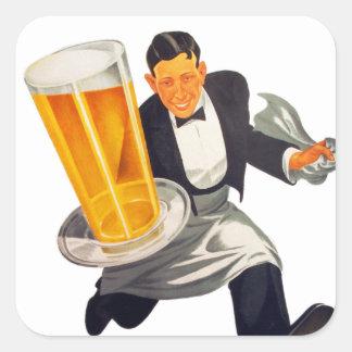 ヴィンテージビールのレトロビールウェイターの役立つガラス スクエアシール