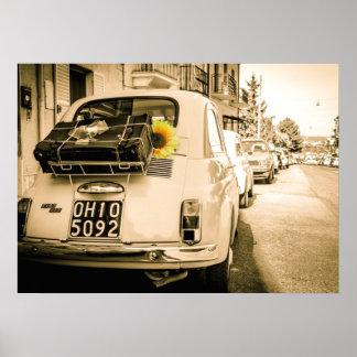 ヴィンテージフィアット500、イタリアポスターのCinquecento、 プリント