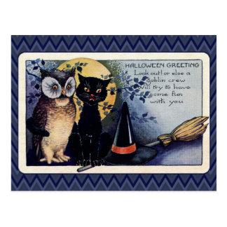 ヴィンテージフクロウおよび猫のハロウィンの挨拶 ポストカード