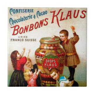 ヴィンテージフランスのなキャンデーの広告のイラストレーション タイル
