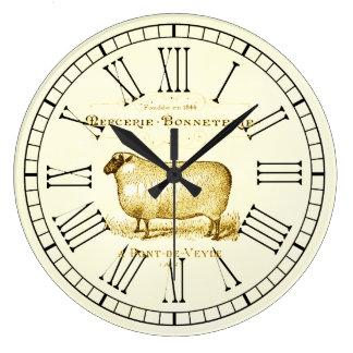 ヴィンテージフランスのな広告ヒツジ ラージ壁時計