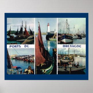 ヴィンテージフランス、ブルターニュ、ボートおよび港 ポスター