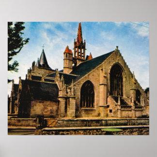 ヴィンテージフランス、ブルターニュ、Penmarch、Eglise St Nonn ポスター