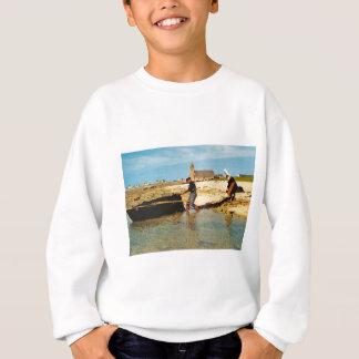 ヴィンテージフランス、漁船を浜に引き上げる   ブルターニュ スウェットシャツ