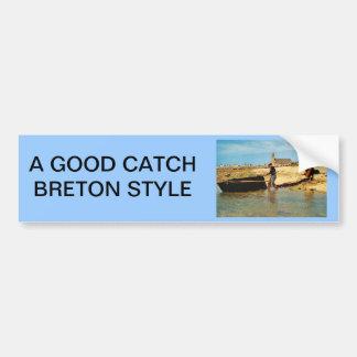 ヴィンテージフランス、漁船を浜に引き上げる   ブルターニュ バンパーステッカー