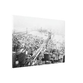 ヴィンテージブルックリンおよびマンハッタン橋写真 キャンバスプリント
