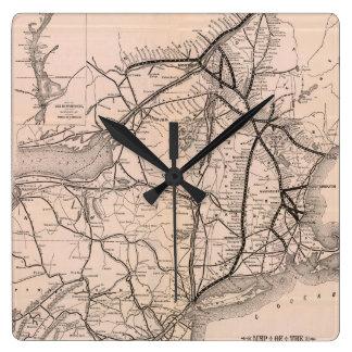 ヴィンテージボストンおよびモントリオールの鉄道地図(1887年) スクエア壁時計