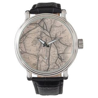 ヴィンテージボストンおよびモントリオールの鉄道地図(1887年) 腕時計