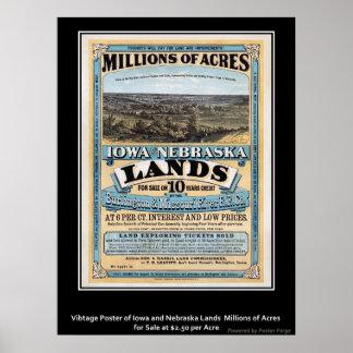 ヴィンテージポスターアイオワかネブラスカの土地の販売 ポスター