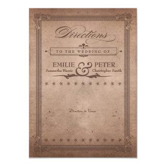 ヴィンテージポスターココアブラウンの結婚式の方向カード カード