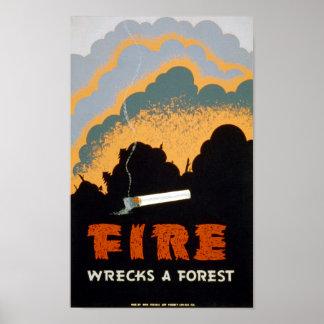 ヴィンテージポスター火は森林-ポスター--を破壊します ポスター