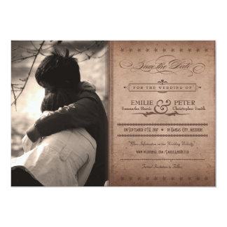 ヴィンテージポスター素朴なココア写真の保存日付 カード