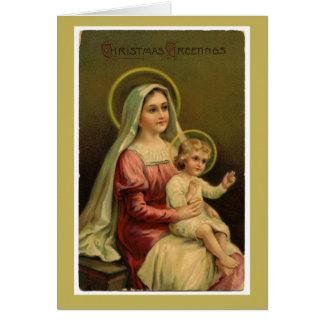 ヴィンテージマドンナおよび子供のクリスマスカード カード