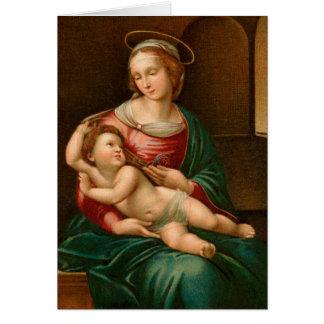ヴィンテージマドンナおよび子供の宗教クリスマスカード カード