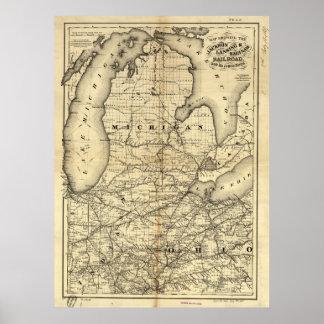 ヴィンテージミシガン州、オハイオ州およびインディアナの鉄道地図 ポスター