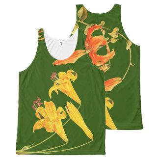ヴィンテージユリによっては花の植物の芸術が開花します オールオーバープリントタンクトップ