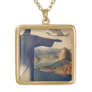 ヴィンテージリオデジャネイロ、キリスト救い主の彫像 ゴールドプレートネックレス