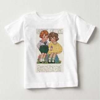 ヴィンテージレトロジャズ年齢のカップルのバレンタインカード ベビーTシャツ