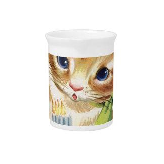 ヴィンテージレトロ猫の子ネコのお誕生日ケーキの挨拶 ピッチャー