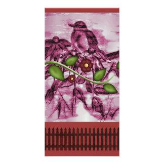 ヴィンテージロビンの花、塀 カード