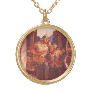 ヴィンテージロビン・フッドおよびNC Wyethによる彼のメリーな人 ゴールドプレートネックレス