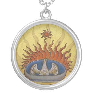 ヴィンテージ上昇のフェニックス神話的なFirebird シルバープレートネックレス